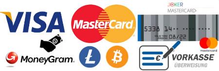 Zahlungsarten im Hanfsamenshop von Cannapot - Visa - Mastercard - Moneygram - Litecoins - Bitcoins - Joker Prepaid